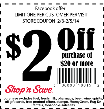 2 Off At Shop N Save Coupons Store Coupons Shopping