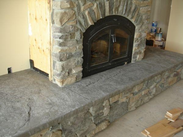 Stamped Concrete Fireplaces : Cement hearth stamped decorative portfolio