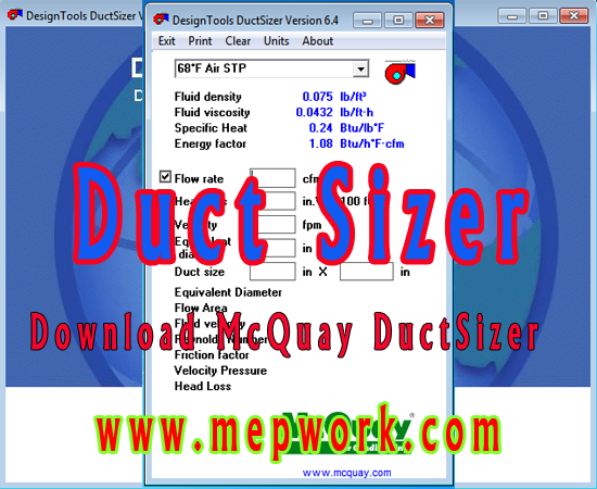 Download Mcquay Duct Sizer For Air Duct Sizing Free Version Duct Hvac Duct Air Duct