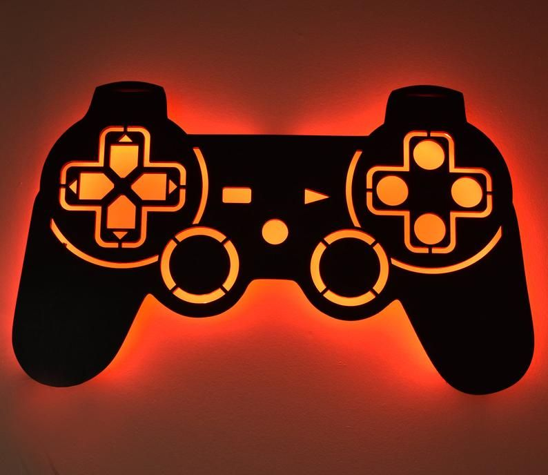 Led Lighted Playstation Controller Wall Art Video Game Art Etsy Game Room Decor Color Changing Led Game Room