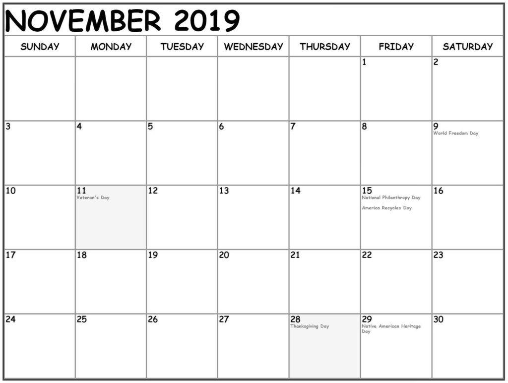 Holidays Calendar For November 2019 Printable Template November