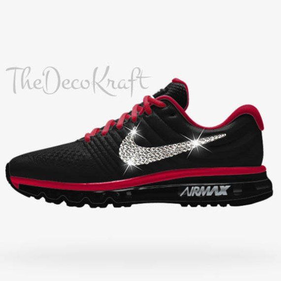 Womens Nike Air Max 2017 iD Black Red Custom Bling Crystal Swarovski  Sneakers e45b4edbf23e
