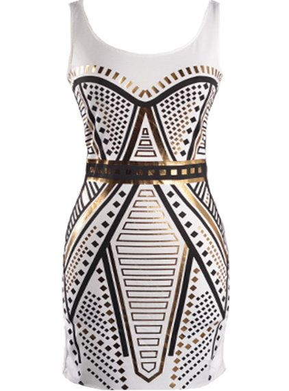 Foiled Geometry Dress: Features a clean scoop neckline with deeper scoop design to the rear, elaborate gold and black foil print to the front in perfect harmony with the geometrical catwalk trend, and a solid white backside to finish.