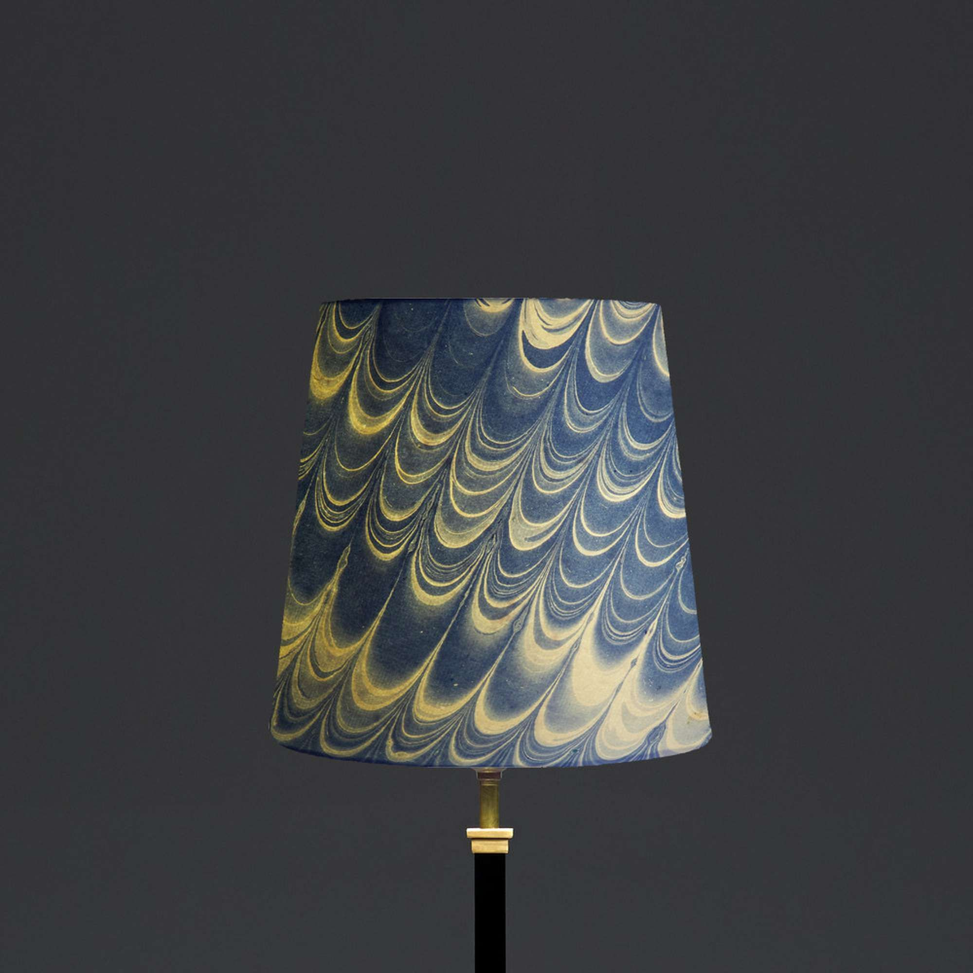 25cm tall tapered hand made marbled paper shade in blue nera