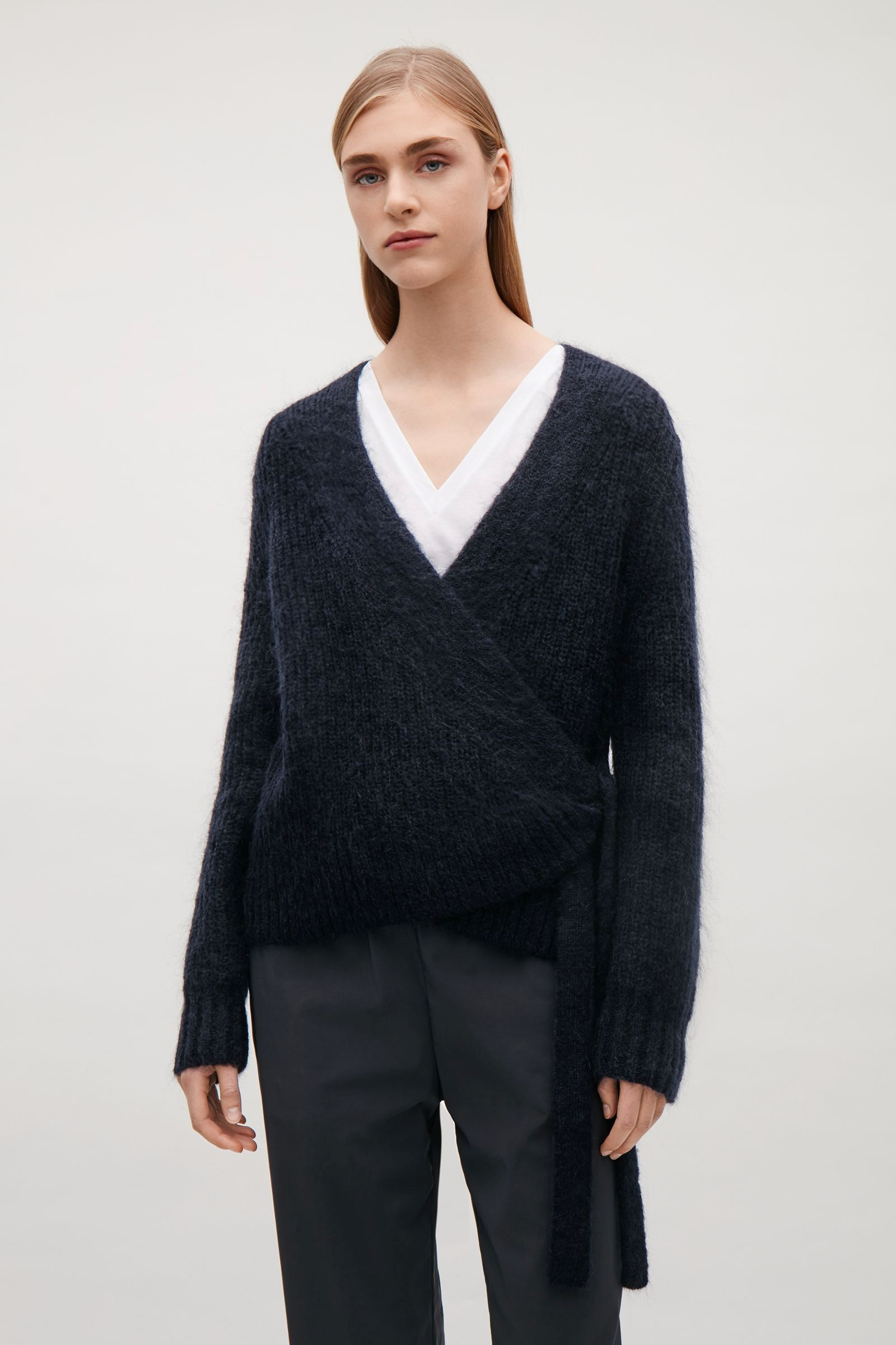 COS image 4 of Wool-mohair wrap cardigan in Navy