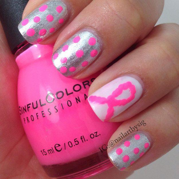 16 T Cancer Awareness Nail Art Designs