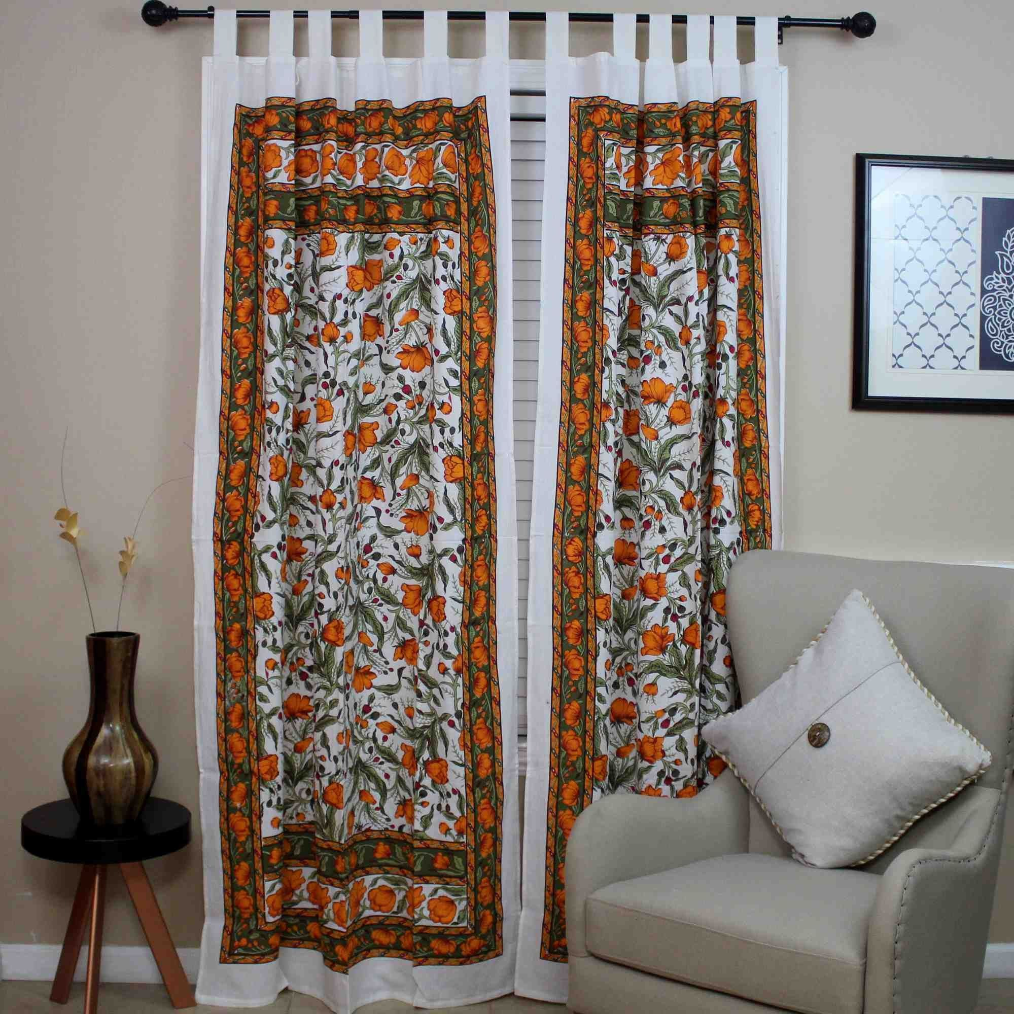 Handmade French Floral Tab Top Curtain 100% Cotton Drape
