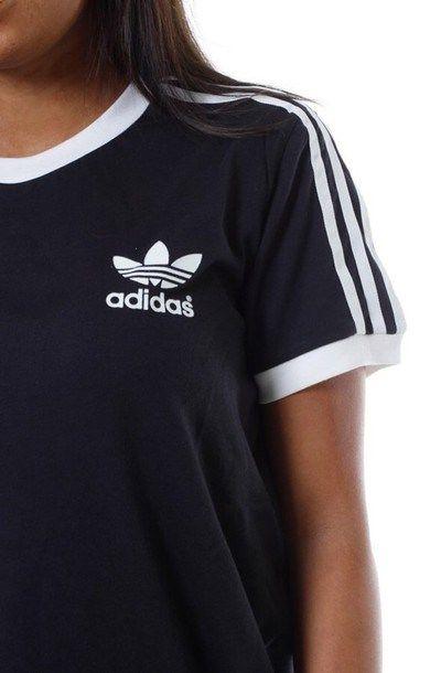 Shirt: womans adidas shirt, black adidas shirt, adidas