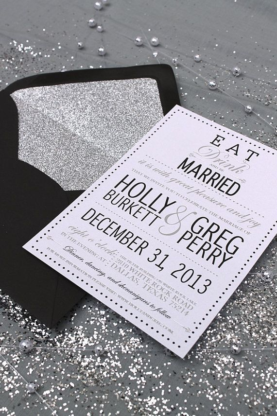 Eat, Drink and Be Married - Modern Glamourous Wedding Invitation ...