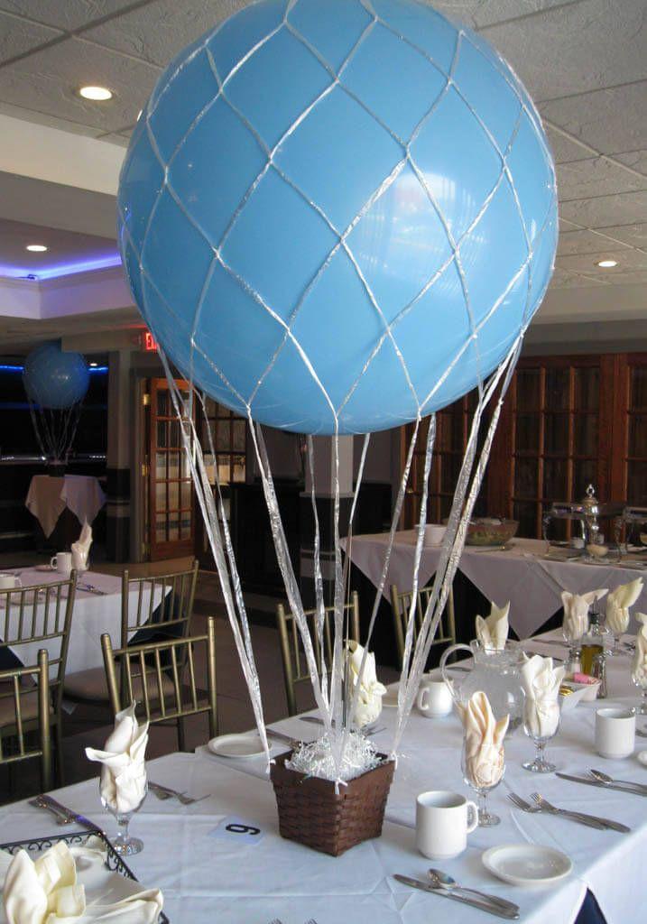 Make Balloon Centerpiece Base : Hot air balloon centerpiece light blue
