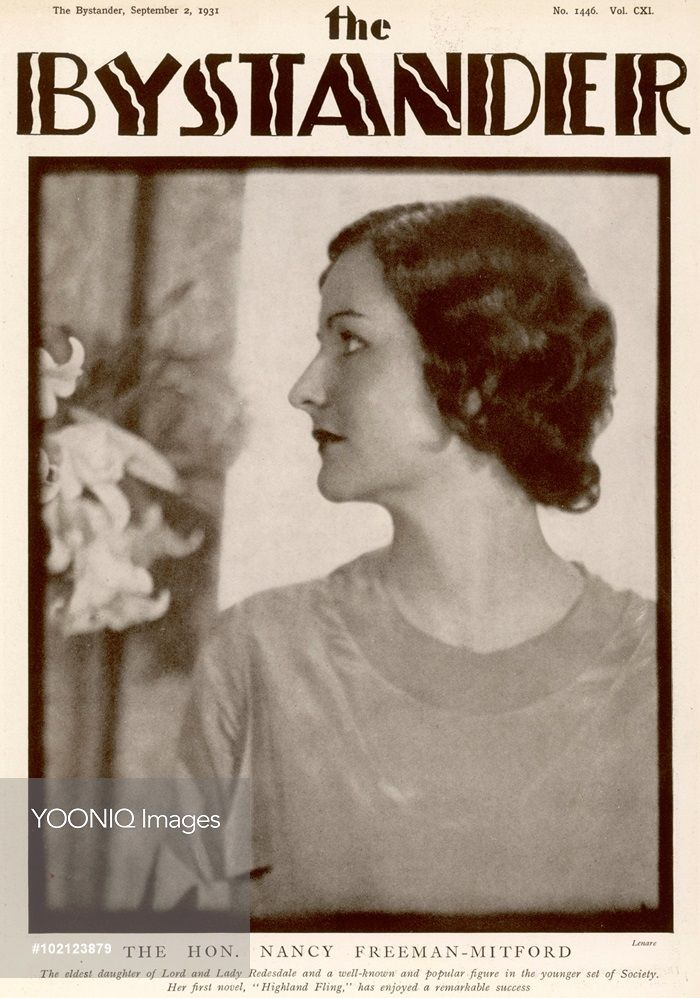 A black and white photograph on the cover of The Bystander in 1931, depicting the Hon. Nancy Freeman-Mitford (1904-1973), writer of comic novels, who was the eldest daughter of Lord and Lady Redesdale.