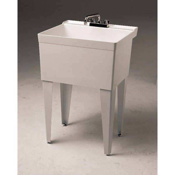 Fiat Single Bowl Floor Mount Tub Utility Sink 4 Inch Faucet