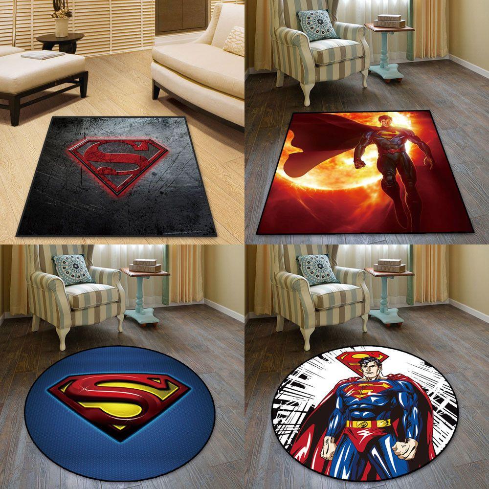 Marvel DC Superheroes Velboa Floor Rug Carpet Room Doormat Non-slip Chair Mat