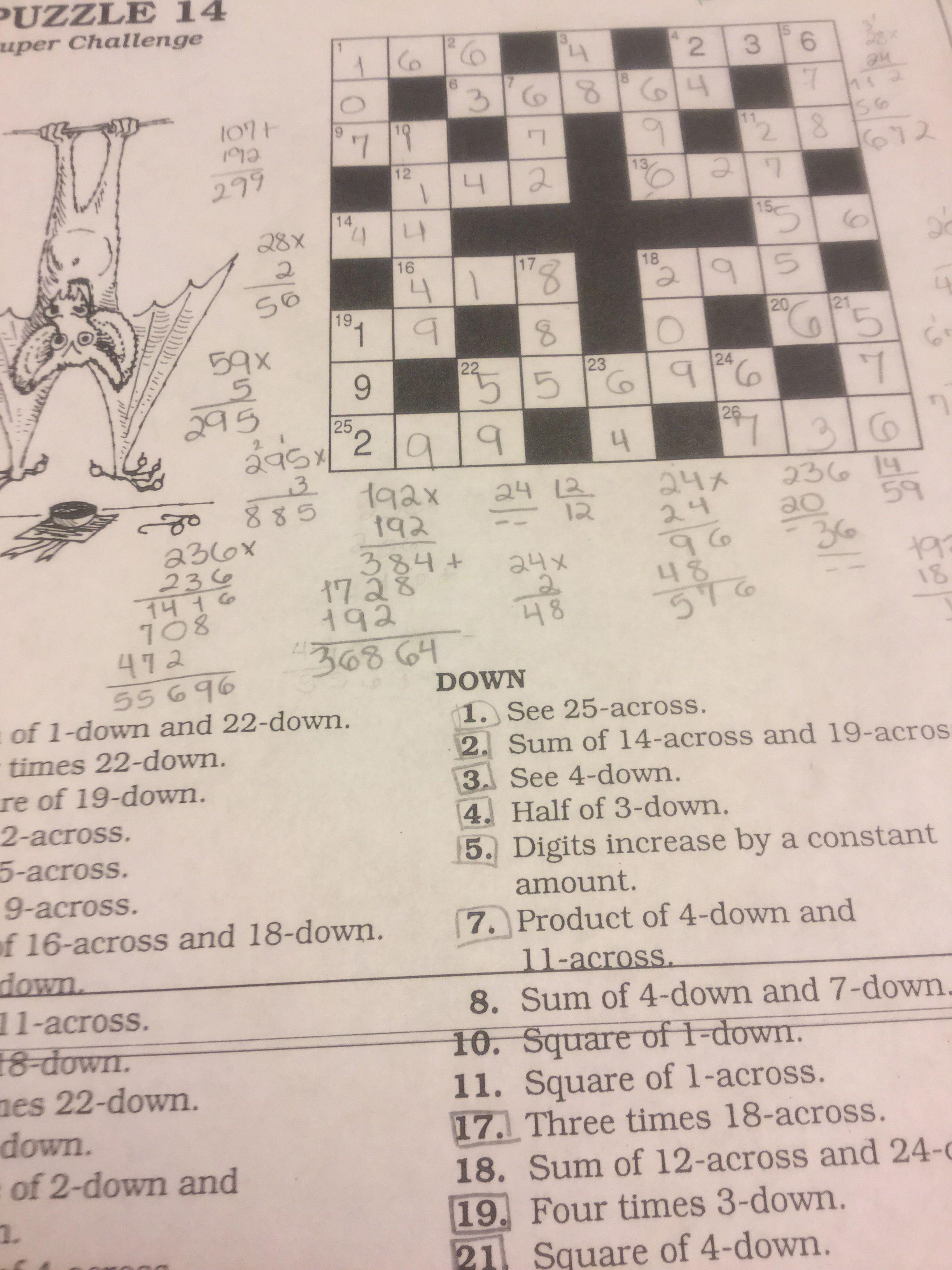 Puzzle 14 Puzzle Math Crossword Puzzle [ 3264 x 2448 Pixel ]