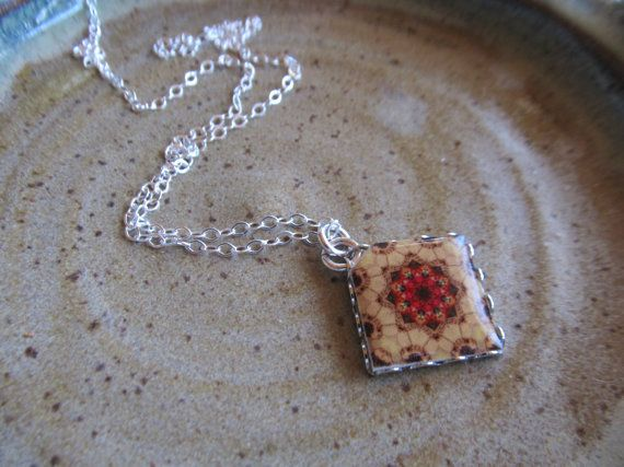 Mini Mexican Tile Reproduction Necklace by FayWestDesigns on Etsy, $18.00