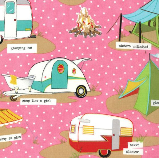 Moda Glamping Shasta Pink Campers By JeanMariesFabrics On Etsy 1050