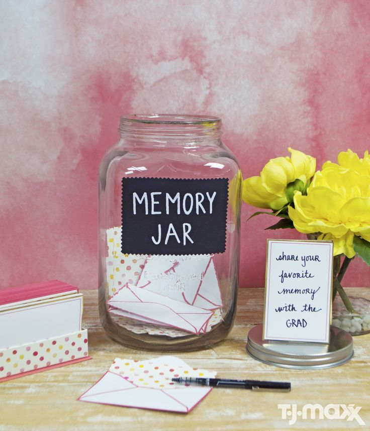 Everyone will have something to say to the Grad. All you need is an oversized mason jar, stationary cards, pens – Done. A memorable graduation DIY. #21stbirthdaysigns