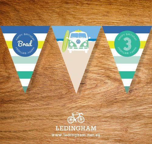Vintage Beach Kombi Surf Bunting Flags by LedinghamShop on Etsy