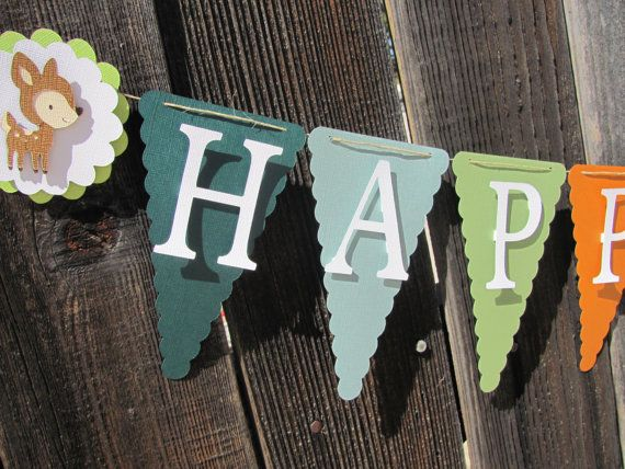 Woodland Animal Fall Themed Birthday Banner by twogirlspaperdesign