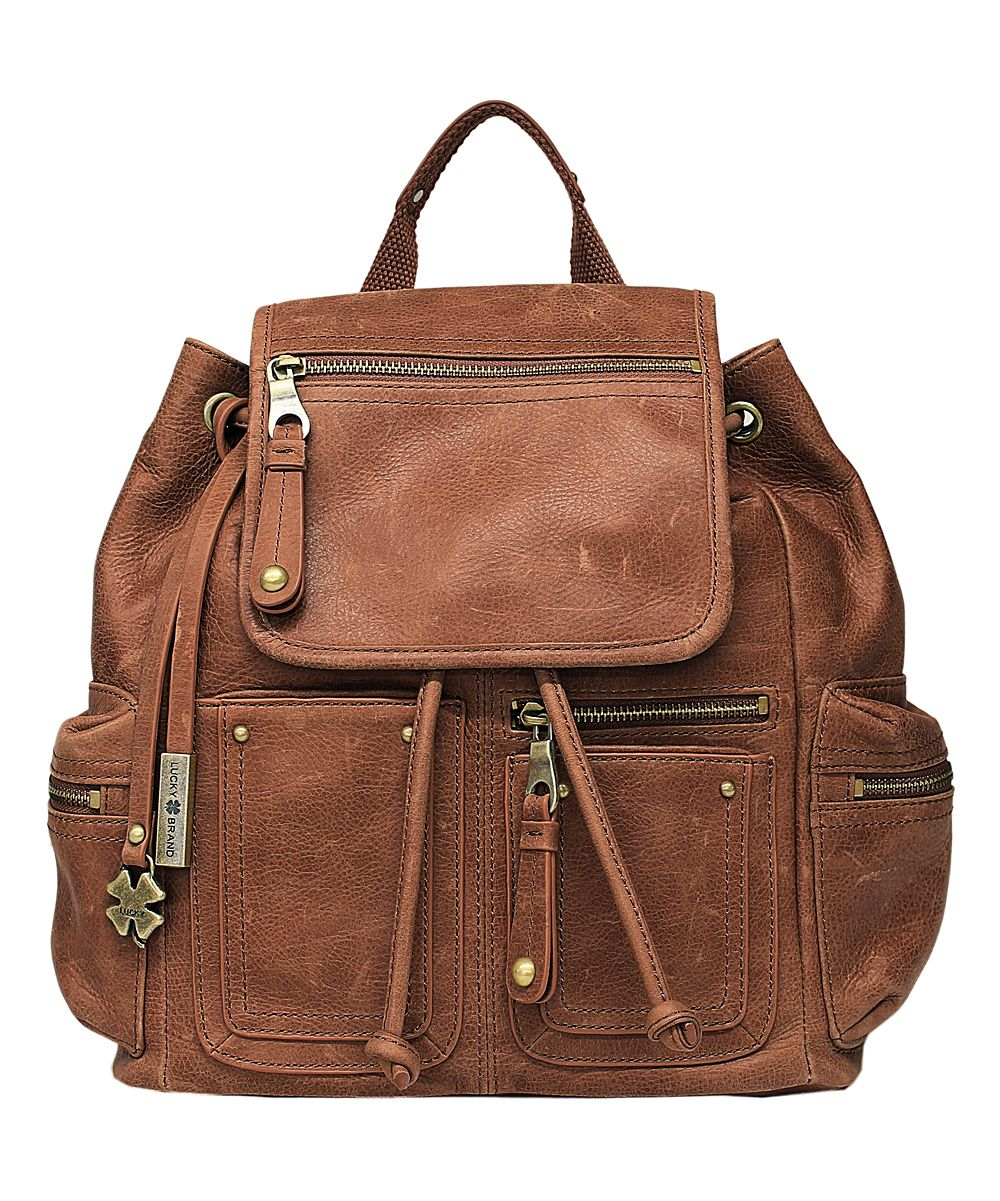 Lucky Brand Brown Cargo Leather Backpack - love all of the pockets and would last a long time.