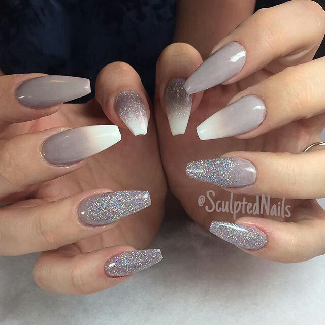 Grey White Ombre With Glitter Ombre Nail Designs Sparkly Acrylic Nails Trendy Nails