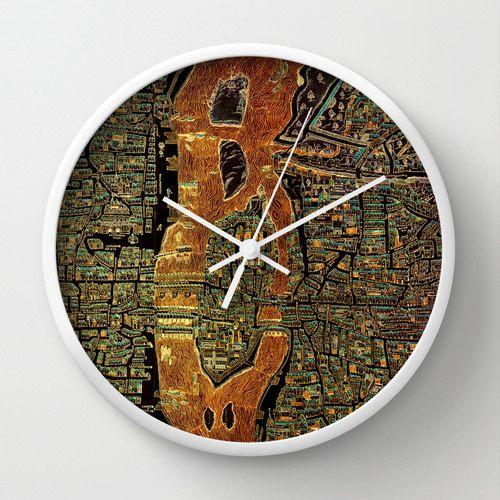 Vintage Wall clock. Paris 1550 Map Vintage Antique Old by allmaps
