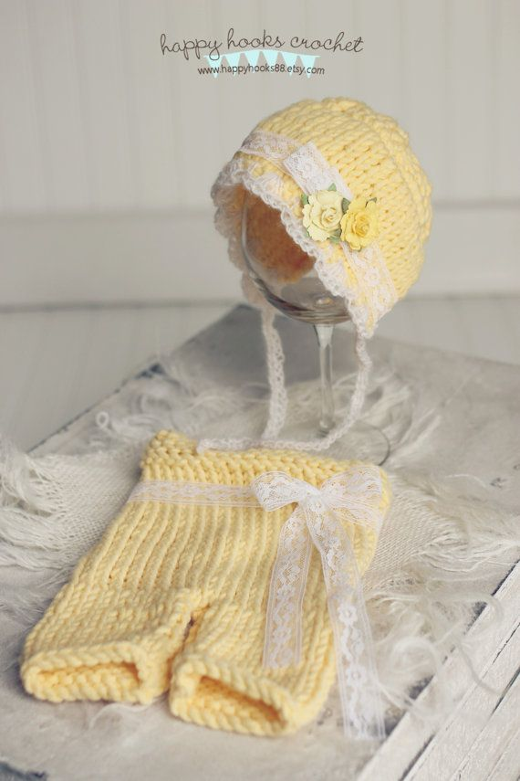 Newborn Bonnet and Pants Photography Prop Set in by Happyhooks88, $49.95
