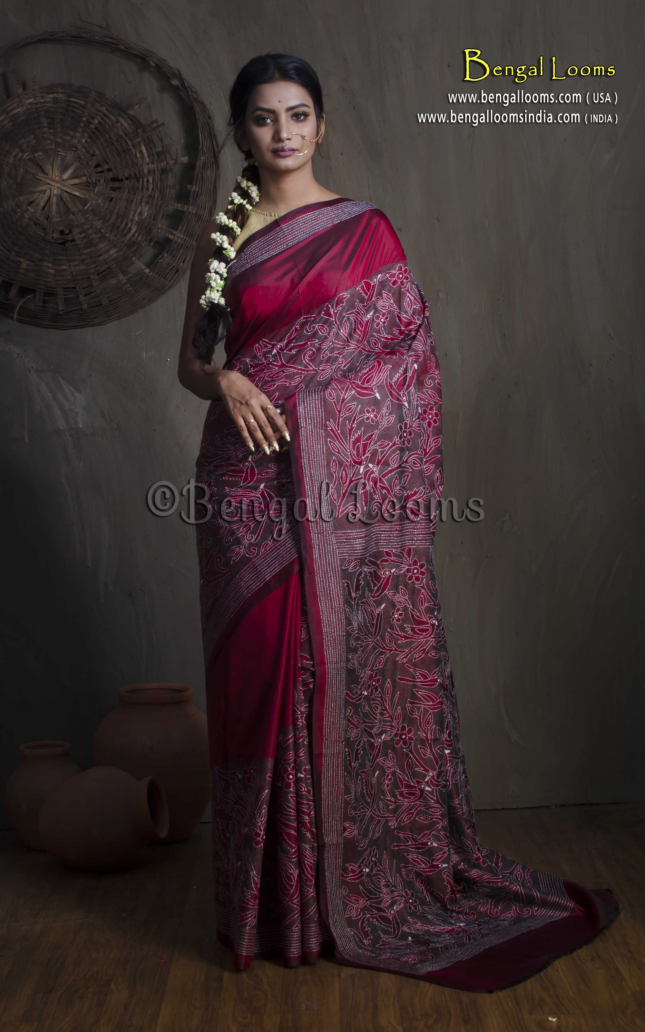 Pure silk saree pure hand stitched kantha saree on pure silk in maroon and green