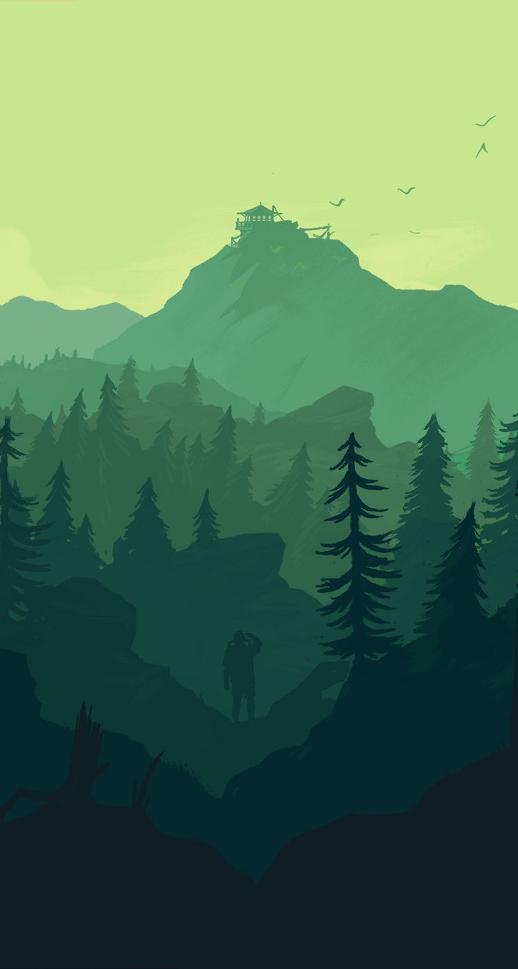 iPhone Wallpapers HD from allofgaming.com,  Firewatch Great Idea for Illustrator Landscape Digital Painting