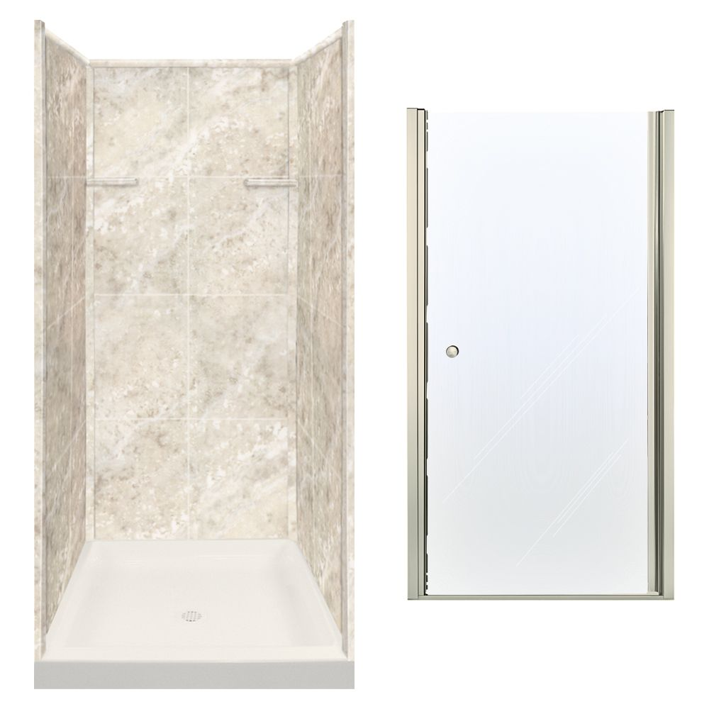 Transolid Solid Surface Clear Glass 36 In X 72 In Alcove Shower