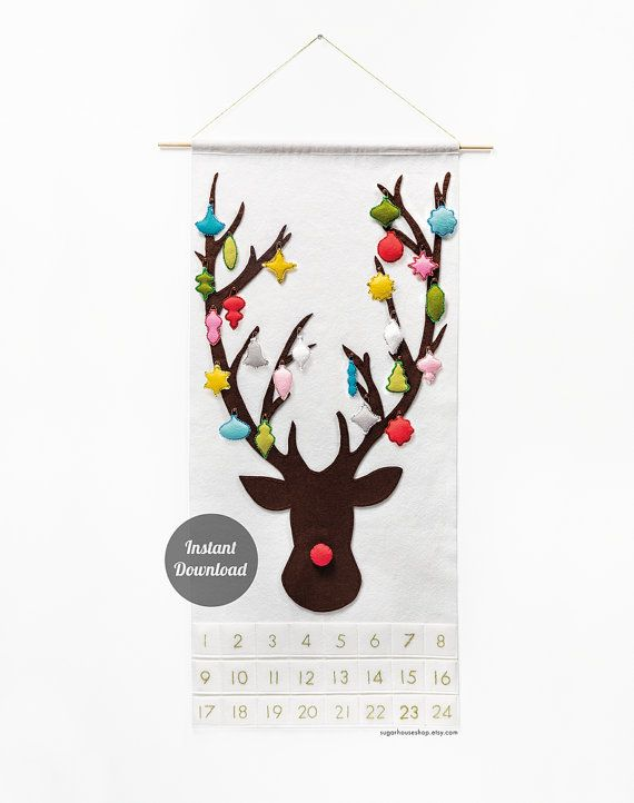 Reindeer Advent Calendar Pattern - Felt Countdown - Dashing Through the Snow with 24 Vintage Ornaments DIY