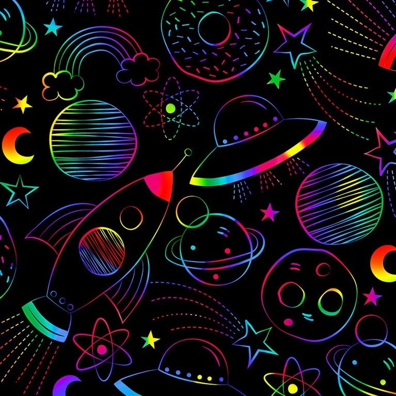 Timeless Treasures Rainbow Sketched Space Black 100% Cotton (TT Rainbow Space)