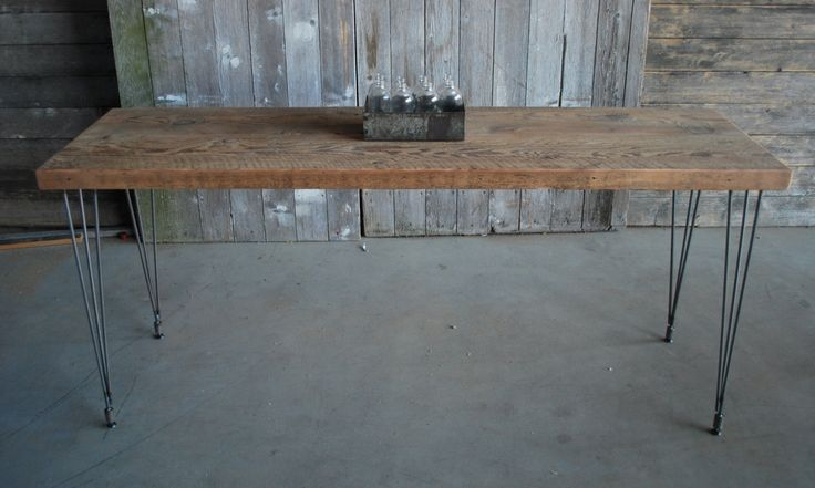 narrow dining table with reclaimed wood top and hairpin legs l x w x tall seats 4 people