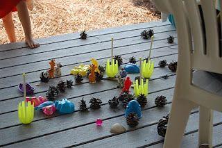 Child Art Installation: Lawn Darts and Pinecones