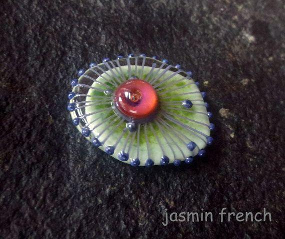 ° ° lieben ° °  Lampwork Ringtop auf ein Ringsystem Schraube mit einem Gewinde schaft (Ring nicht inbegriffen).  Größe des oberen Handshaped Ovals