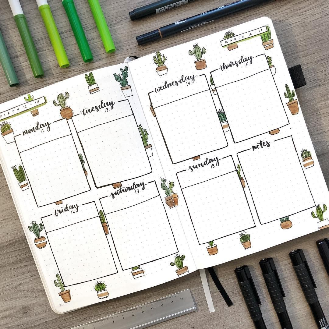 """AmandaRachLee on Instagram: """"cacti galore for this week's spread! 🌵 i wanted to make a weekly spread that would match my cover page and i think it was pretty…"""""""
