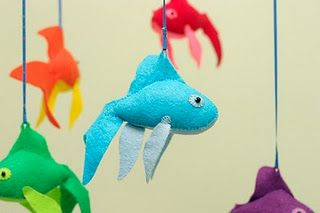 Make a mobile out of felt fish