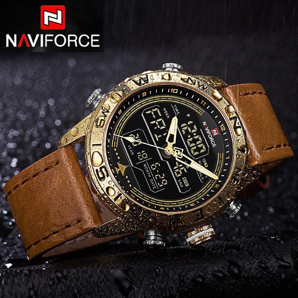 Alphamerchnet Comnaviforce Fashion Leather Gold Men Sport Watches Mens Led Analog Digital Watch Army Military Quartz Watch Relogio Masculino 9144 Watches For Men Best Watches For Men Sport Watches