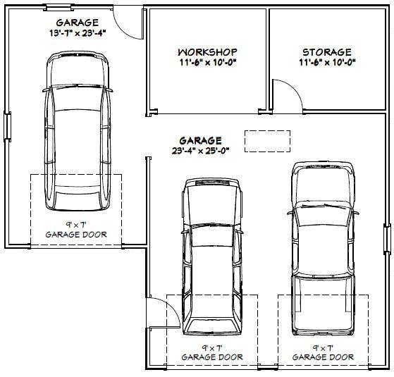 38x36 3 Car Garage 38x36g1g 1 200 Sq Ft Excellent Floor