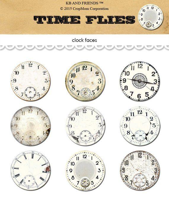 Vintage clocks watch faces digital collage sheet / printable 2