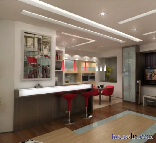 Superbe Modern Suspended Ceiling Systems For Kitchen With Integrated Lighting