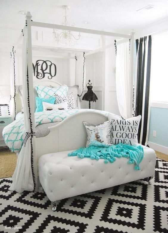 Teen Bedroom Decor Beauteous Black And White And Teal Bedroom  Teen Girl Bedrooms  Simple Yet 2018