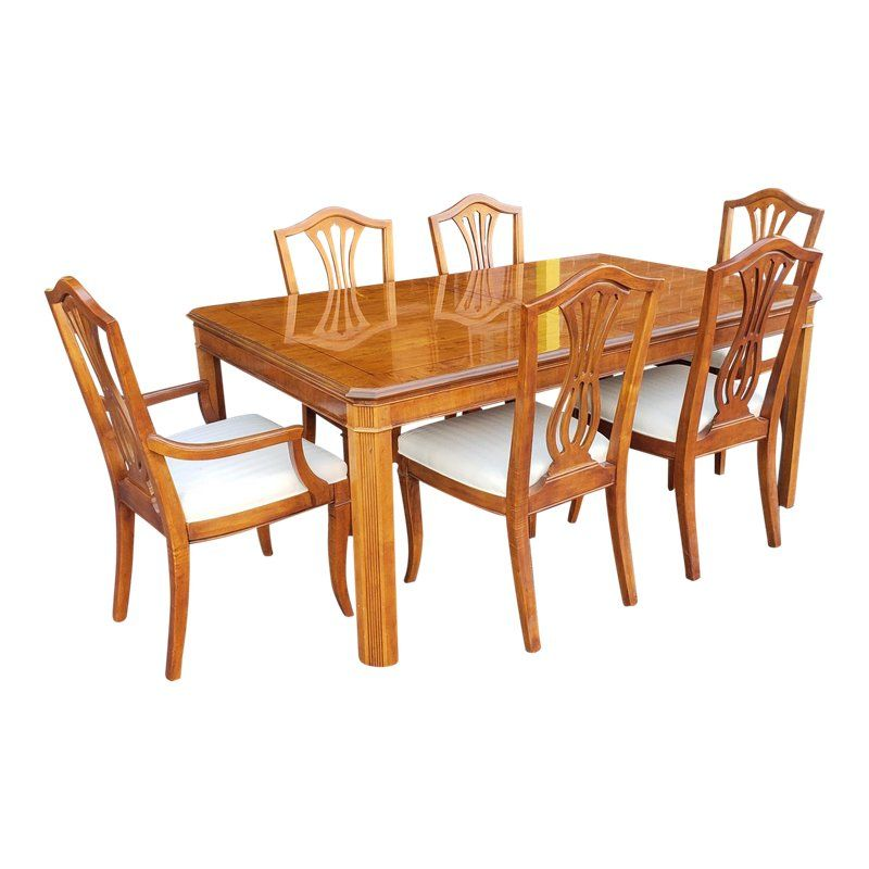 1990s Vintage Drexel Heritage Yorkshire Collection Yew Wood Dining