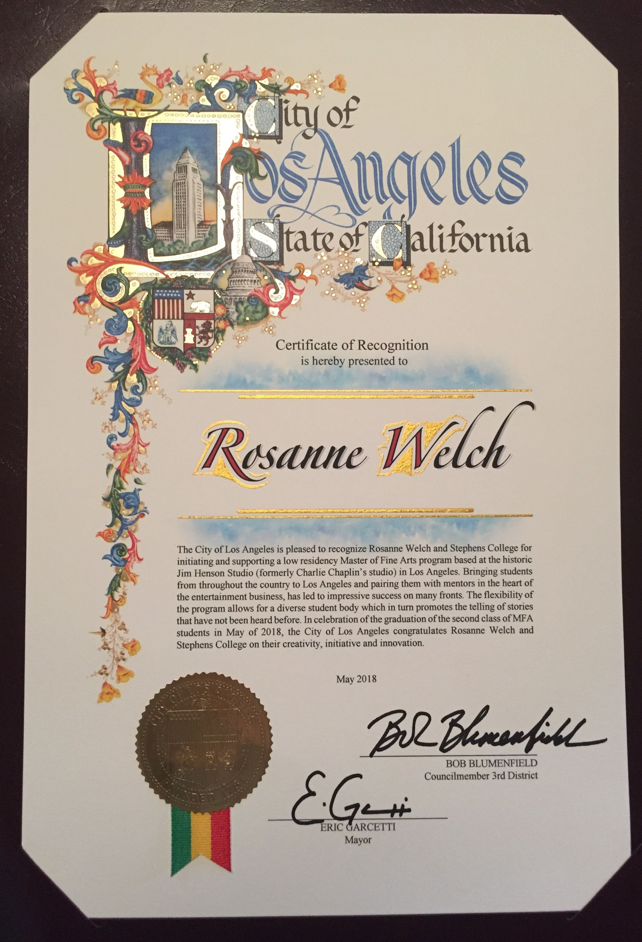 City Of Los Angeles Certificate Of Recognition For Rosanne Welch On Screenwriting And Media With Dr Rosanne Welch Art Programs Screenwriting Los Angeles
