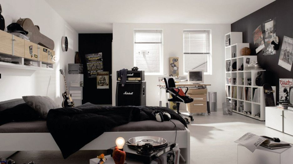Gray Boys Room Decoration Theme: Fascinating Masculine Bedroom Design With  White Bed Frame Combine With