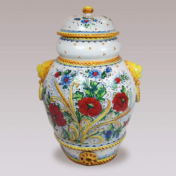Small Poppy Vase With Top From The Amalfi Coast Of Italy 118849