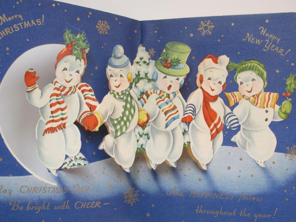 Vintage Greeting Card Christmas Pop-Up Die-Cut Accordion Snowman r470