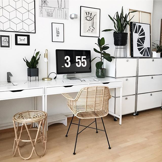 Modern Homeoffice Computer Desk:  Home Office Inspiration With Wall Art #interior # Desk