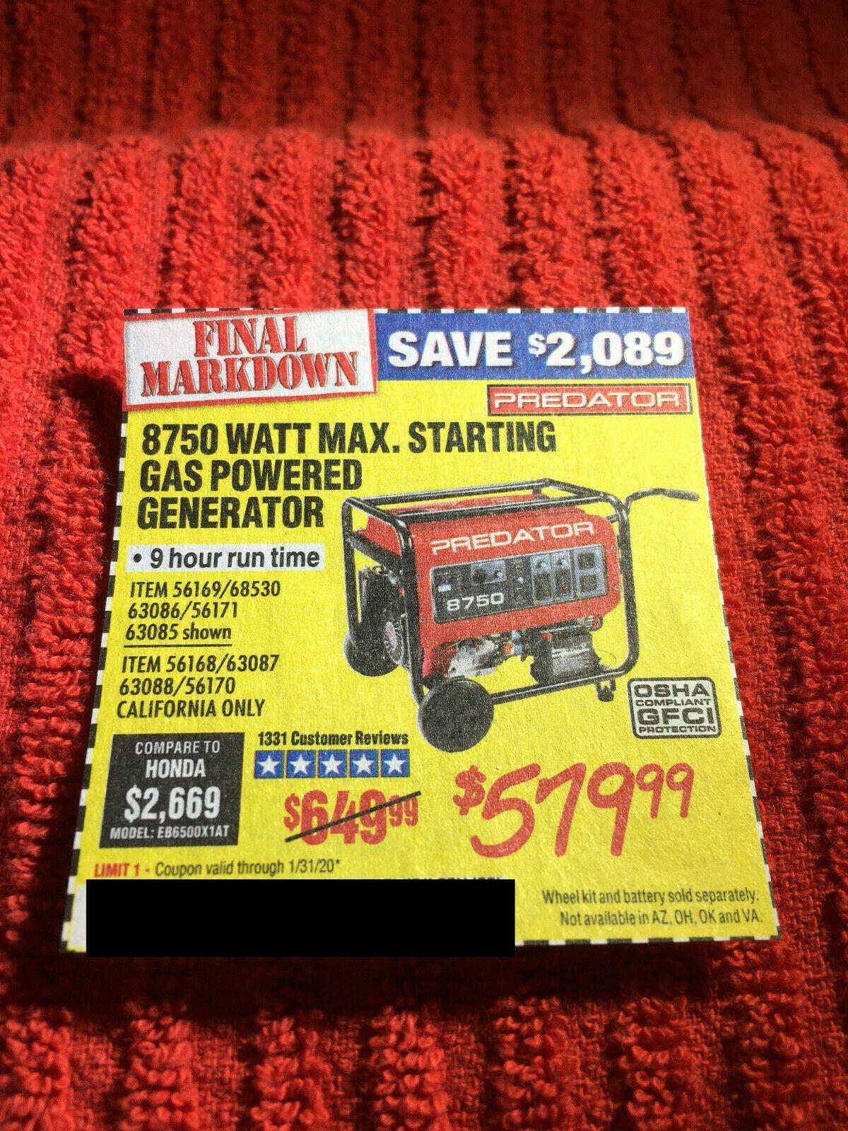 Coupon to save on 8750 Watt Max Starting Gas Generator