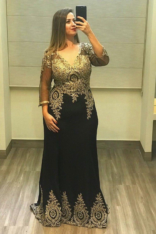 b5abfb6dc ✍ vestido longo, preto e dourado, manga longa, decote v e evasê ...